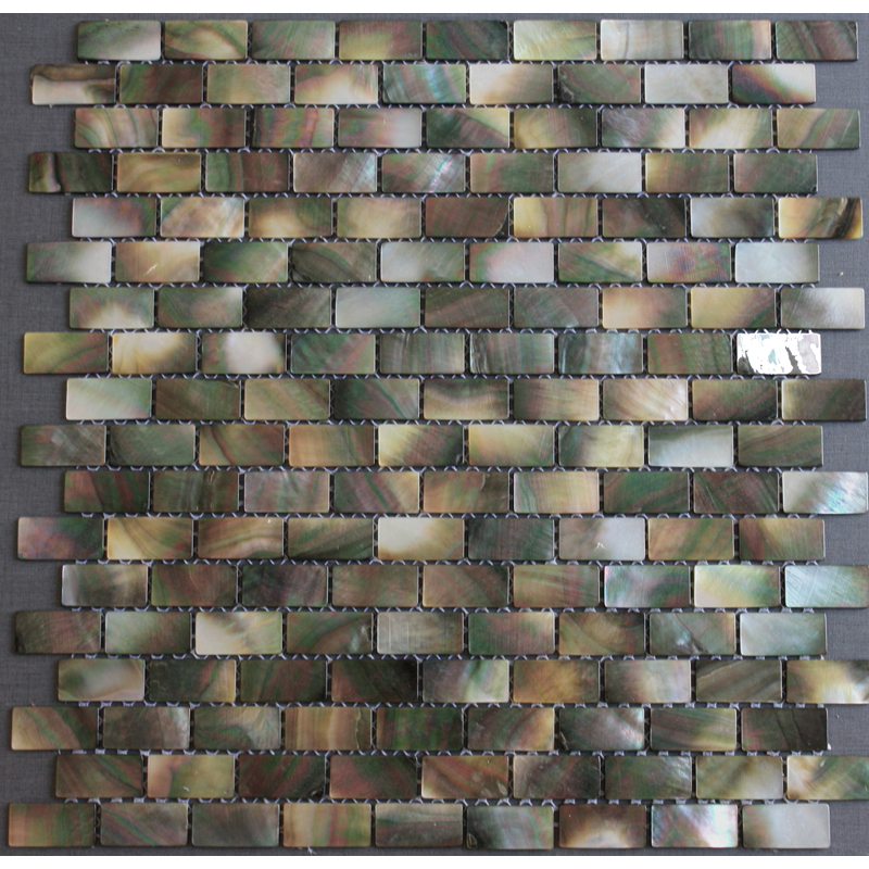 "Black Mother of Pearl Brick Shell Mosaic Sheet 15 x 25mm - 1"", 1 tile"